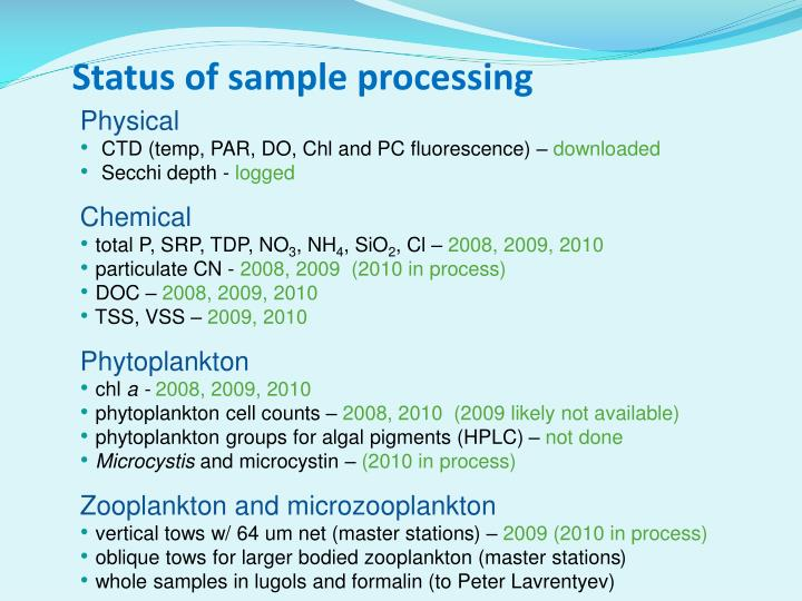 Status of sample processing