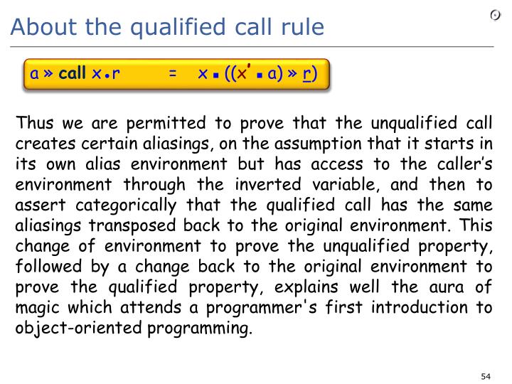 About the qualified call rule