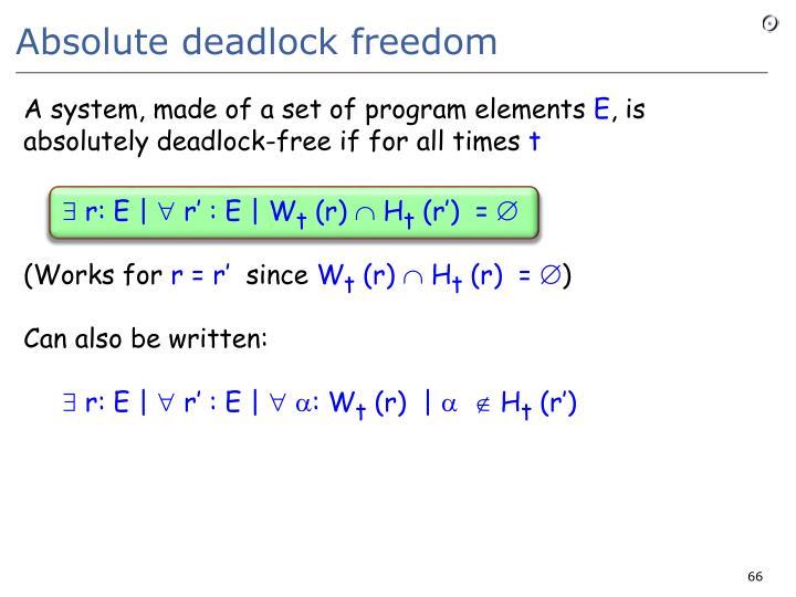Absolute deadlock freedom