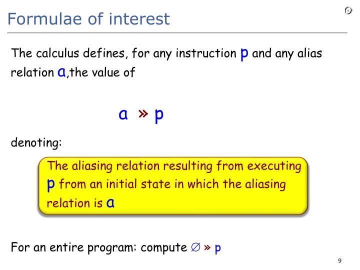 Formulae of interest