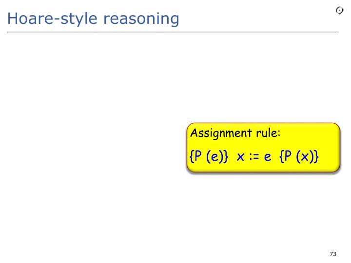 Hoare-style reasoning