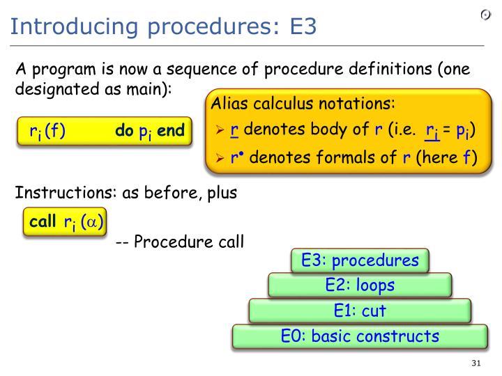 Introducing procedures: E3