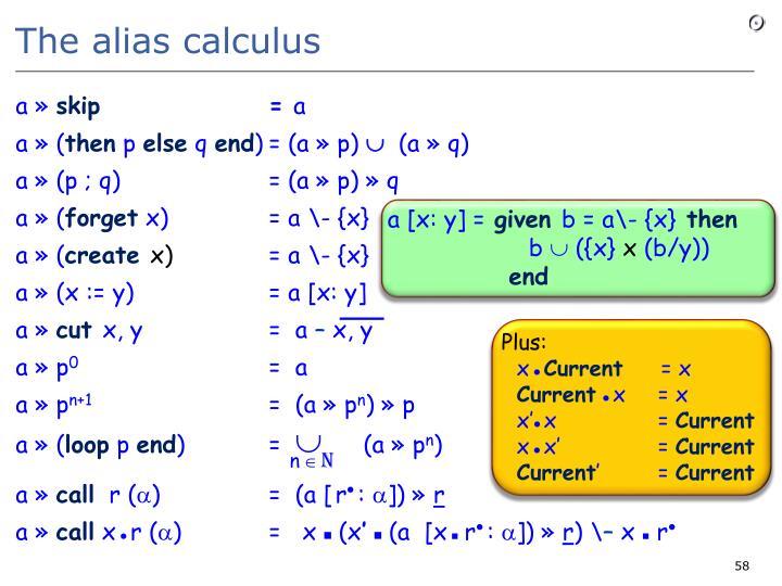 The alias calculus