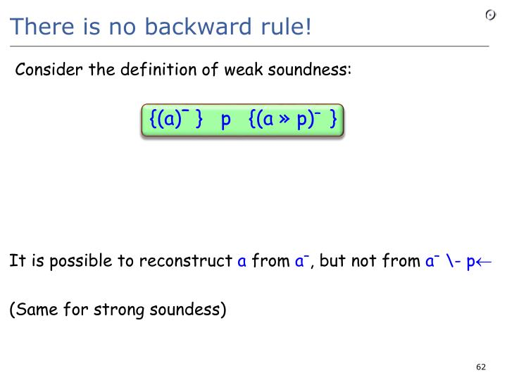 There is no backward rule!
