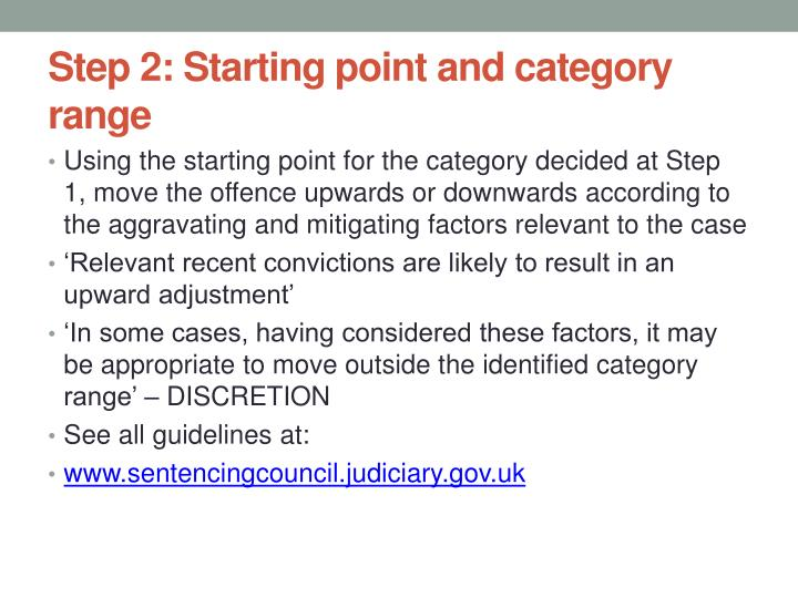 Step 2: Starting point and category range