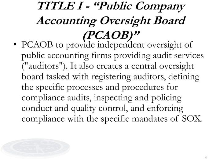 "TITLE I - ""Public Company Accounting Oversight Board (PCAOB)"""