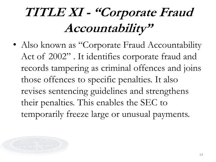 "TITLE XI - ""Corporate Fraud Accountability"""