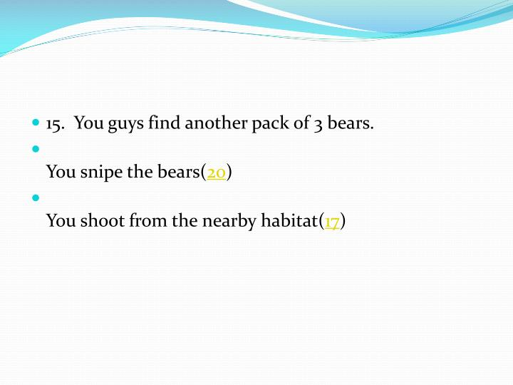 15.  You guys find another pack of 3 bears.