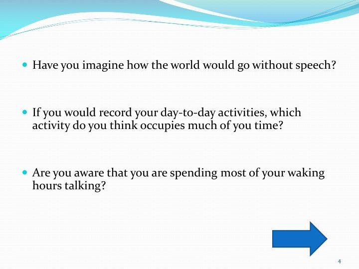 Have you imagine how the world would go without speech?