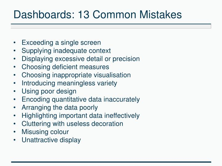 Dashboards: 13 Common Mistakes