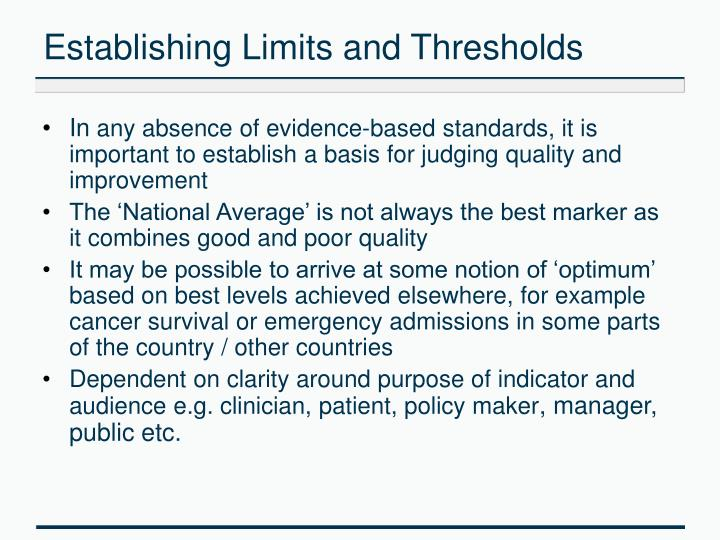 Establishing Limits and Thresholds