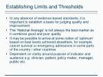 establishing limits and thresholds