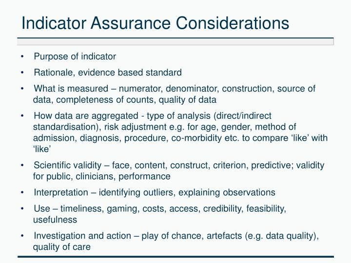 Indicator Assurance Considerations