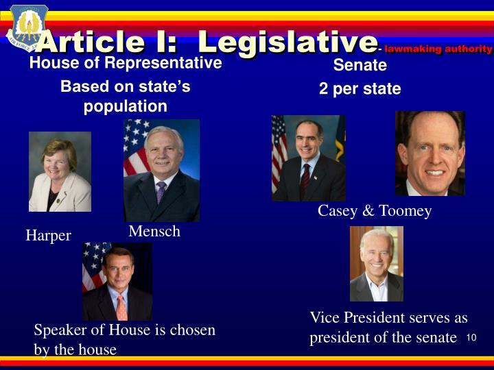 Article I:  Legislative