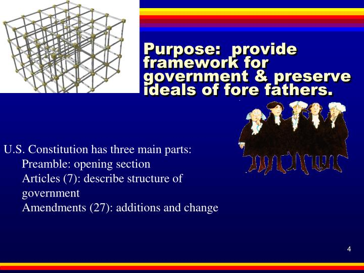 Purpose:  provide framework for government & preserve ideals of fore fathers.