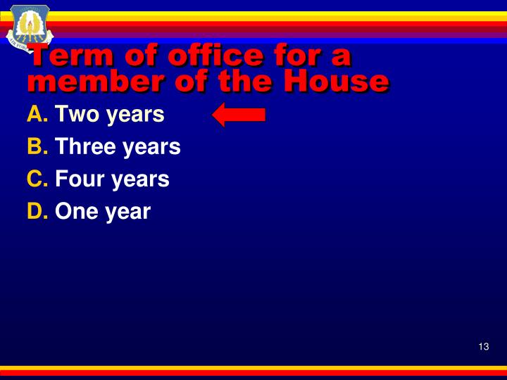 Term of office for a member of the House