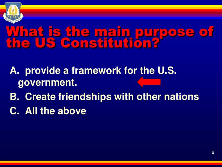 What is the main purpose of the US Constitution?