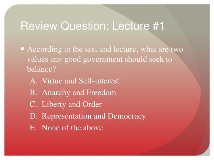 Review Question: Lecture #1