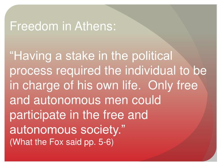 Freedom in Athens: