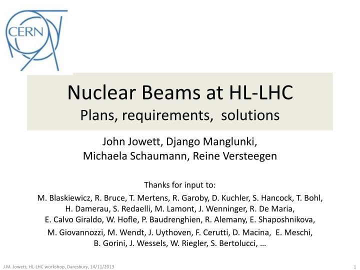 Nuclear beams at hl lhc plans requirements solutions