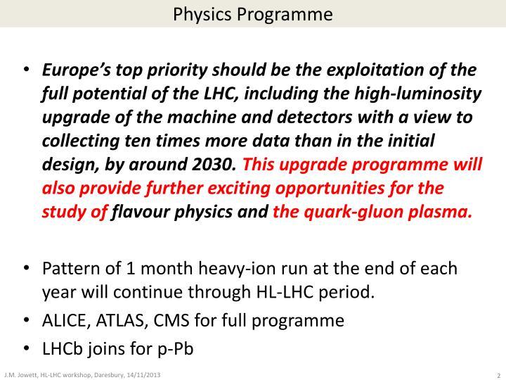 Physics Programme