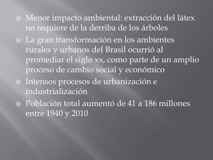 Menor impacto ambiental: extracción del látex no requiere de la derriba de los árboles