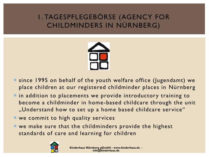 1. Tagespflegebörse (agency for childminders in Nürnberg)