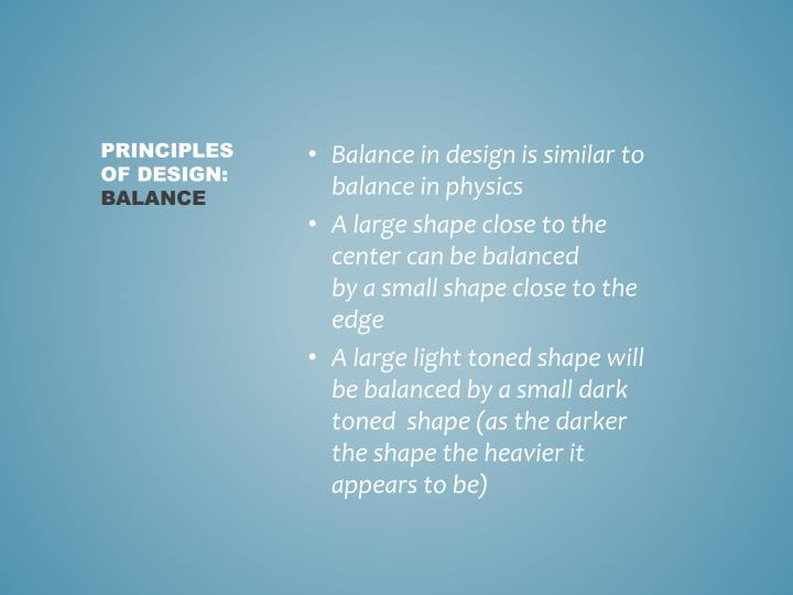 Balance in design is similar to balance in