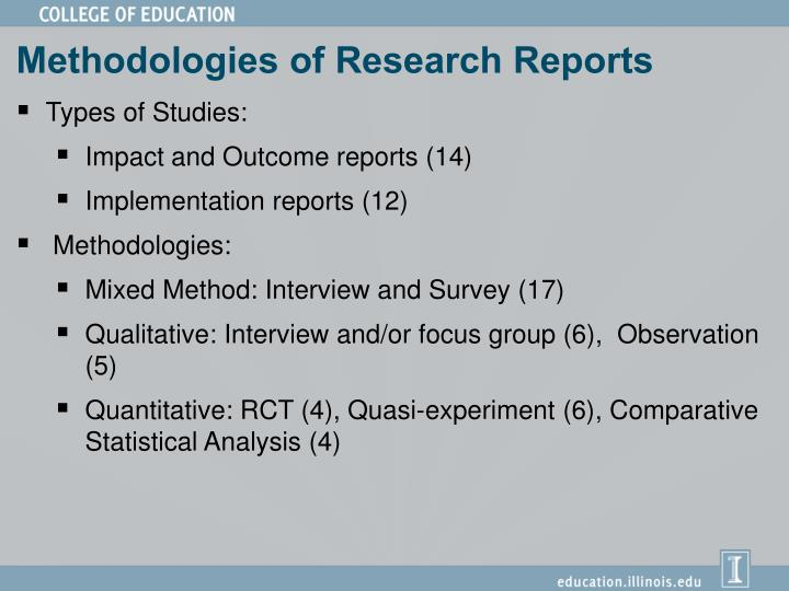 Methodologies of Research Reports
