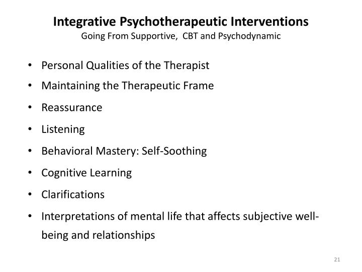 Integrative Psychotherapeutic Interventions