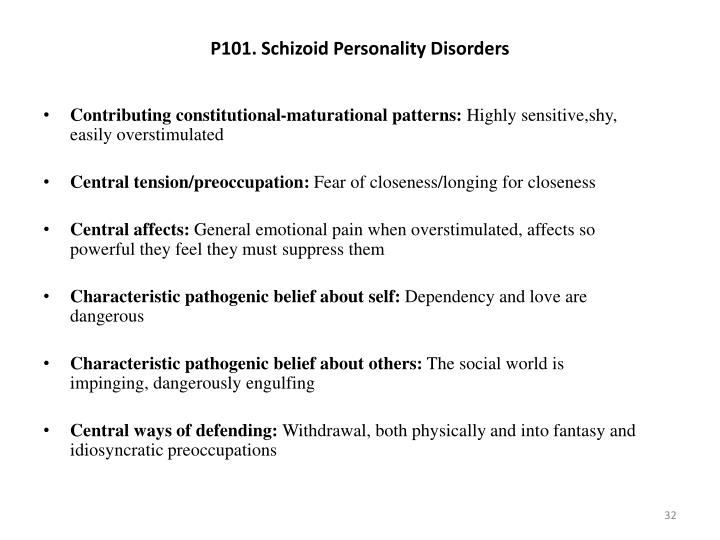P101. Schizoid Personality Disorders