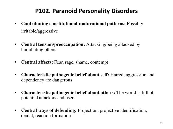P102. Paranoid Personality Disorders