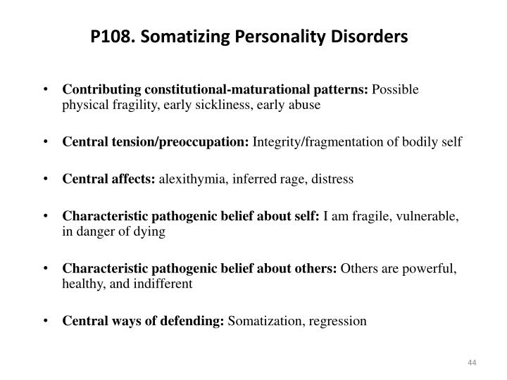 P108. Somatizing Personality Disorders