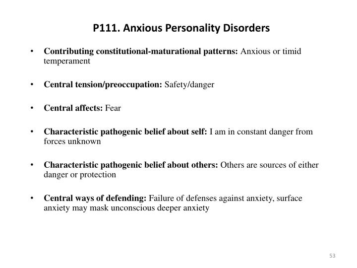 P111. Anxious Personality Disorders