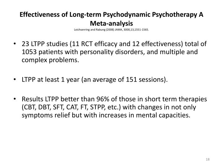 Effectiveness of Long-term Psychodynamic Psychotherapy A Meta-analysis
