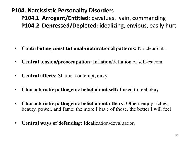 P104. Narcissistic Personality Disorders