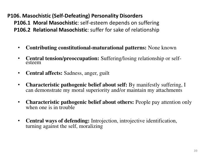 P106. Masochistic (Self-Defeating) Personality Disorders