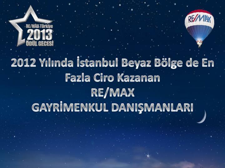 2012 Yılında İstanbul Beyaz Bölge de En Fazla Ciro Kazanan