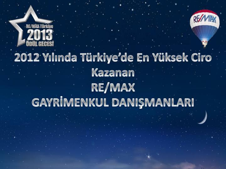 2012 Yılında Türkiye'de En Yüksek