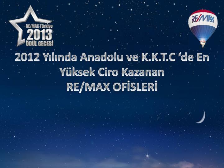 2012 Yılında Anadolu ve K.K.T.C 'de En Yüksek Ciro Kazanan