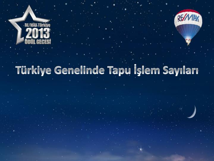 Türkiye Genelinde Tapu İşlem Sayıları