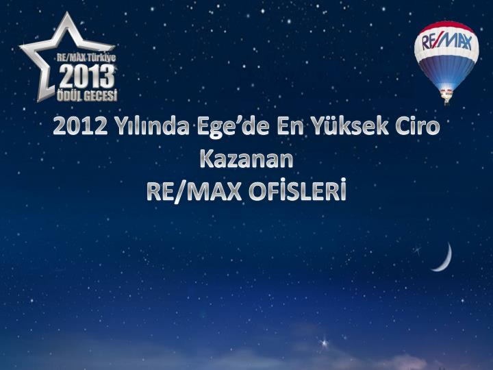 2012 Yılında Ege'de En Yüksek Ciro Kazanan
