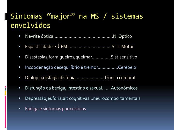 """Sintomas """"major"""" na MS / sistemas envolvidos"""