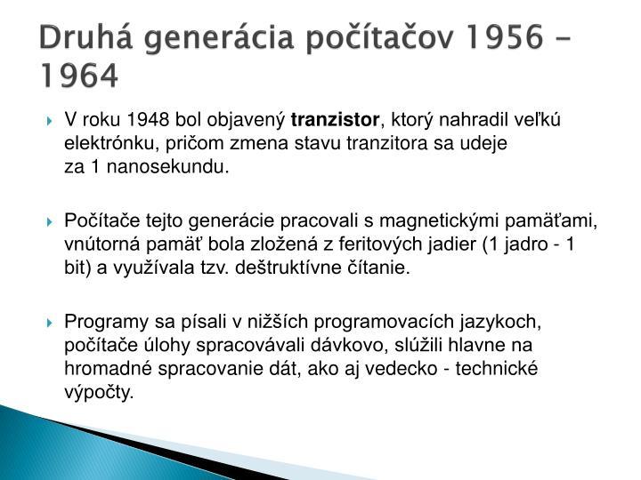 Druhá generácia počítačov 1956 -1964