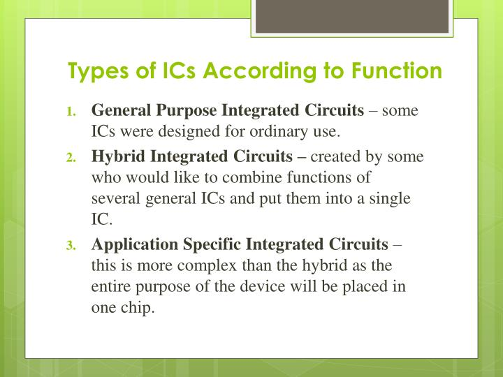 Types of ICs According to