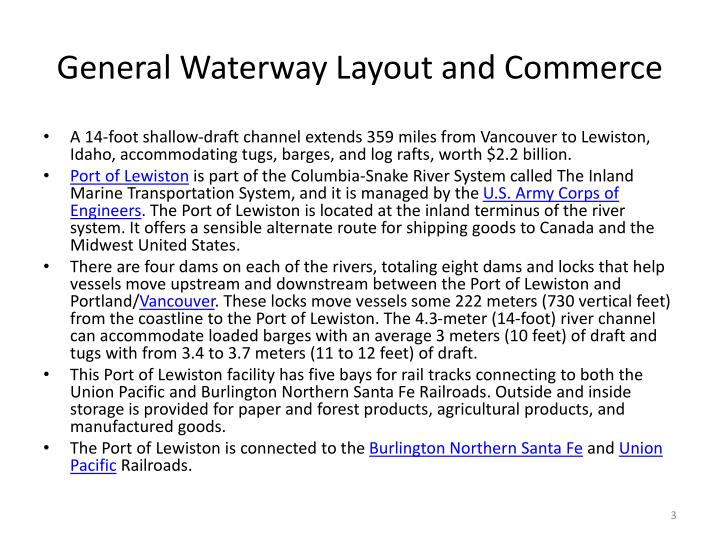General waterway layout and commerce