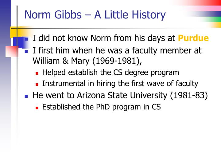 Norm Gibbs – A Little History