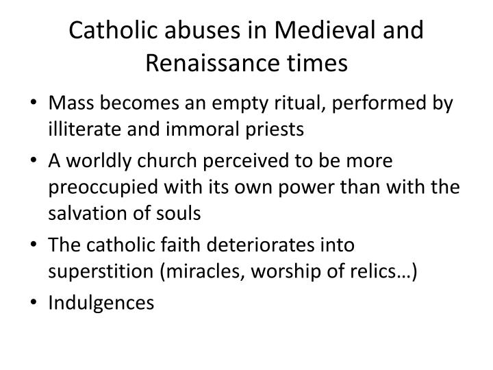 Catholic abuses in Medieval and Renaissance times