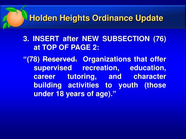 Holden Heights Ordinance Update