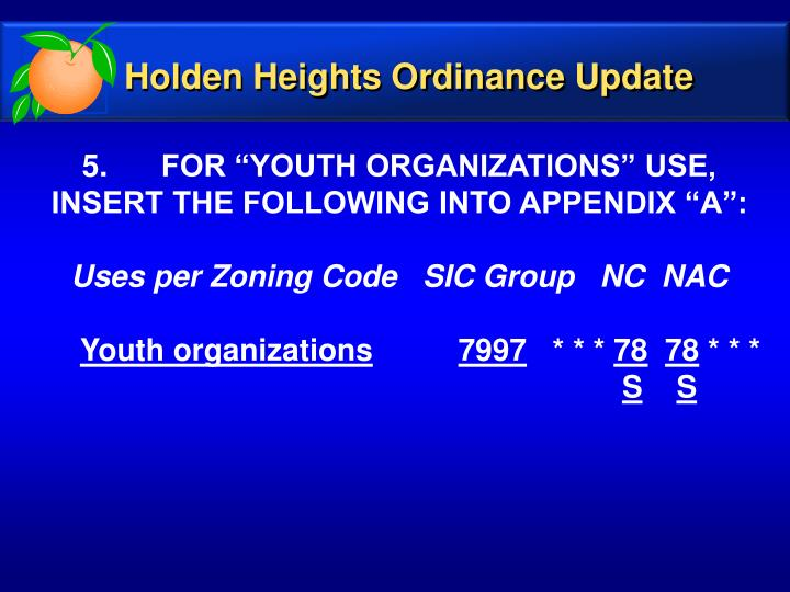 Holden Heights Ordinance Update